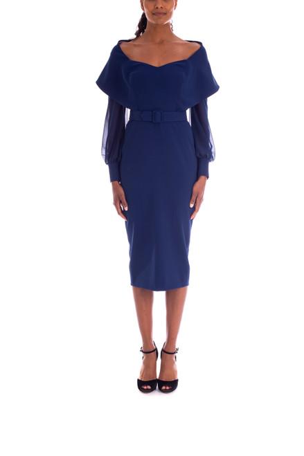 Indigo Stretch Crepe Wrap Dress Front