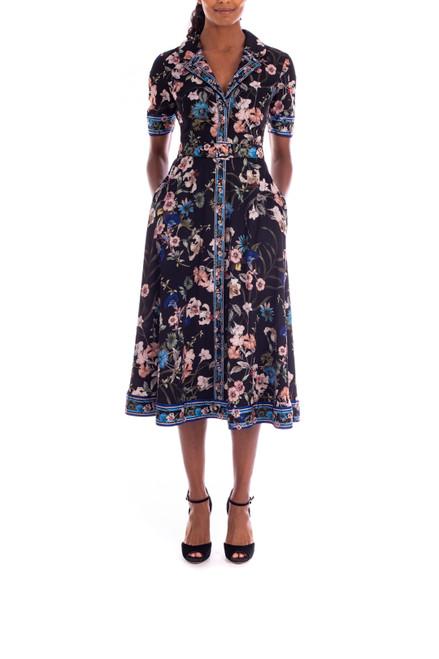 Black Multi Crepe de Chine Floral Day Dress Front