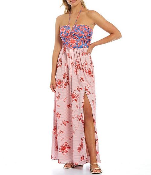 Maxi Halter Printed Dress Front