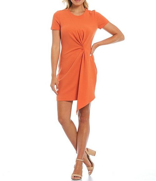 Short Sleeve Side Drape Dress Front
