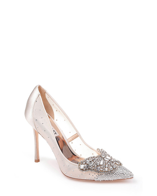 Ivory Quintana Crystal Ornamented Pump Front