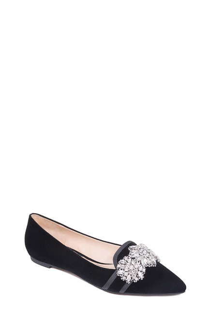 Black Echo Pointed Toe Evening Flat Front