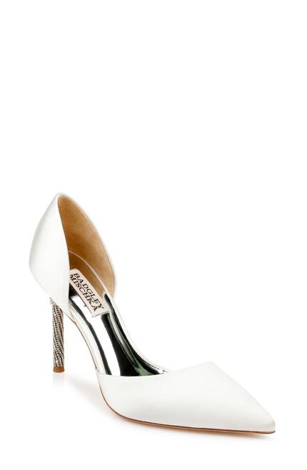 Soft White Ozara II Crystal Heel Pump