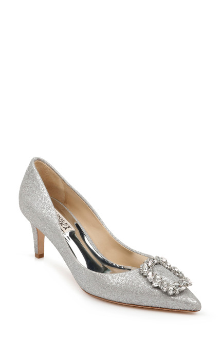 Silver Carrie Embellished Ornament Pump Front