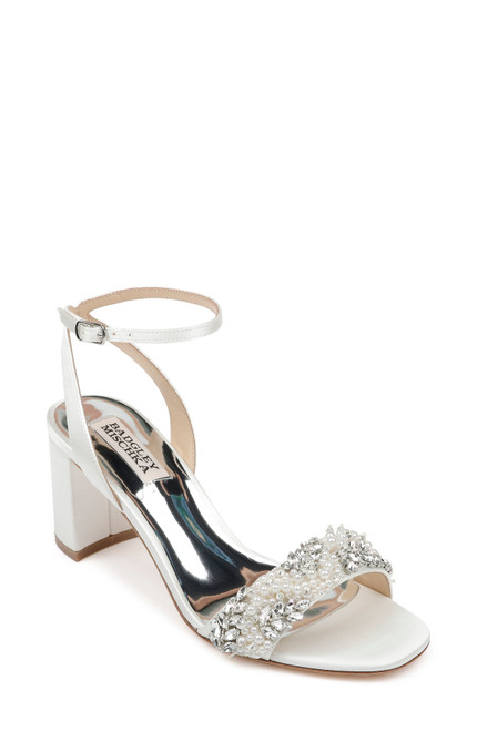 Soft White Clara Embellished Strap Evening Shoe