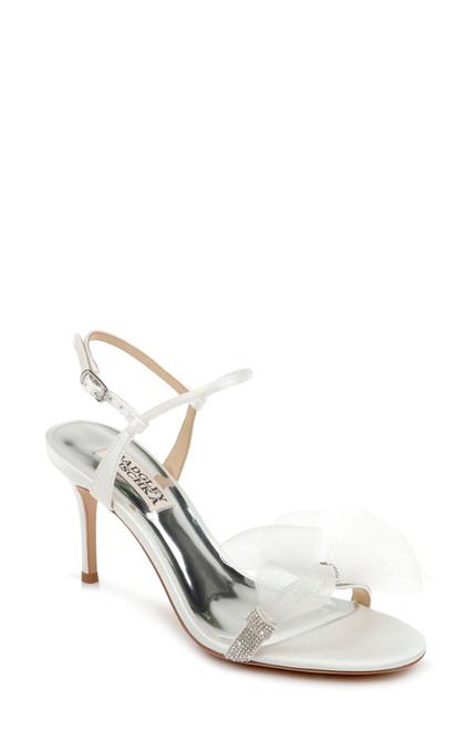 Soft White Janie Bow Embellished Evening Shoe Front