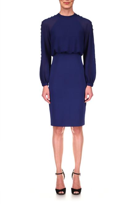 Midnight High-Waist Button Detail Dress Front
