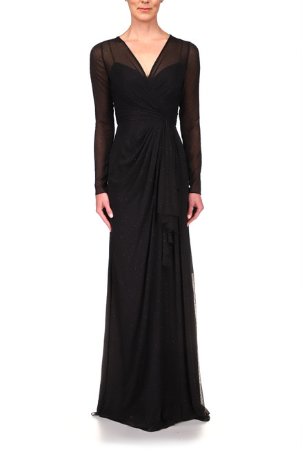 Black High-Waist Button Detail Dress Front