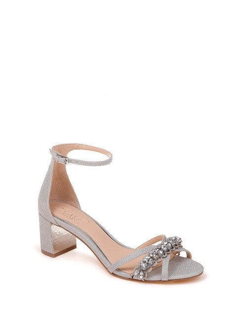 Silver Giona Wide-With Embellished Evening Shoe Front