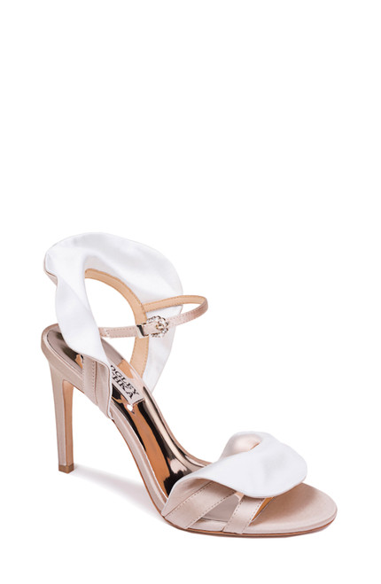 Nude White Ella Ruffled Evening Shoe Front
