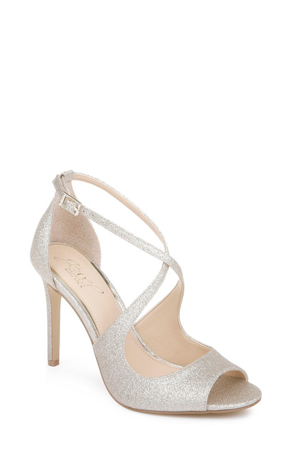 Light Gold Jonna Glitter Peep Toe Pumps-Front Angle