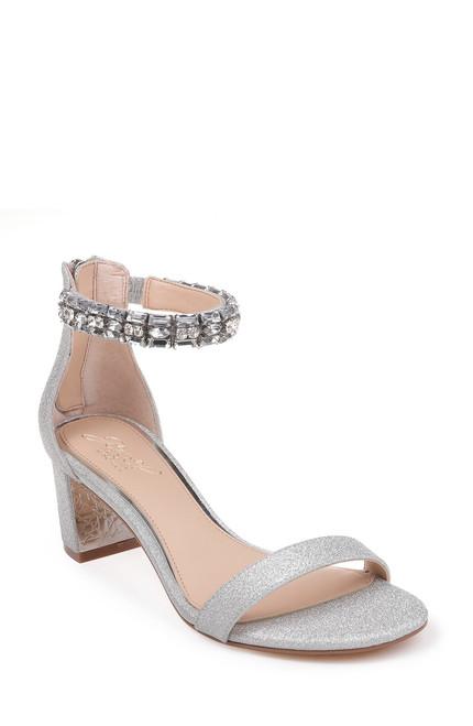 Silver Glitter Katerina Embellished Ankle Strap Shoe Front