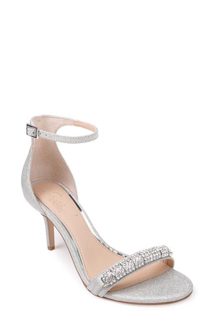 Silver Glitter Randy Embellished Open Toe Shoe Front