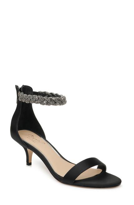 Black Nepeta Braided Ankle Strap Kitten Heel Front
