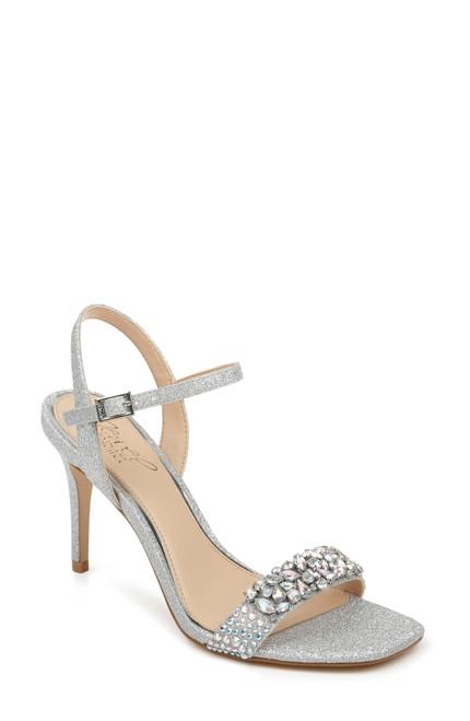 Silver Glitter Natasha Crystal Embellished Evening Shoe Front