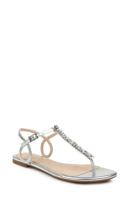 Silver Natalie T-Strap Flat Sandal Front