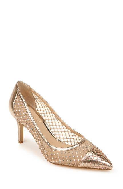 Rose Gold/ Nude Floria Stone Mesh Pointed Toe Pump Front