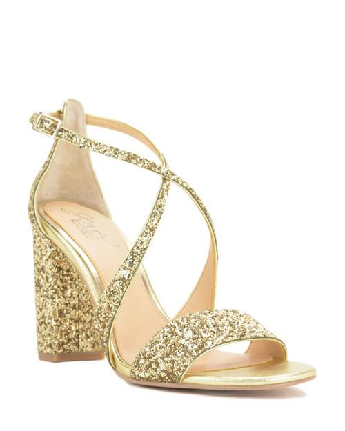Gold Cook Metallic Glitter Evening Shoe Front