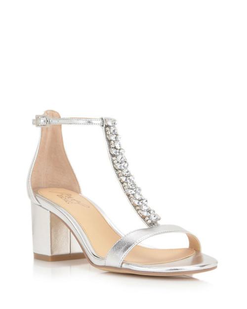 Silver Lindsey Embellished Evening Shoe Side Angle
