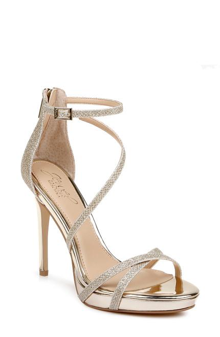 Gold Galen Platform Glitter Evening Shoe Side angle