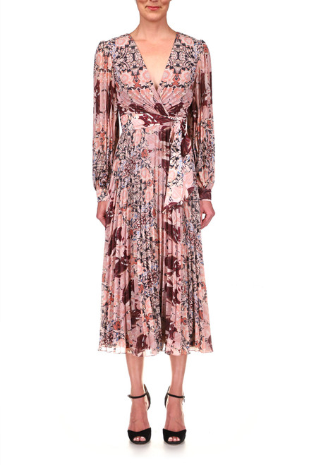 Blush Multi Pleated Georgette Printed Day Dress Front