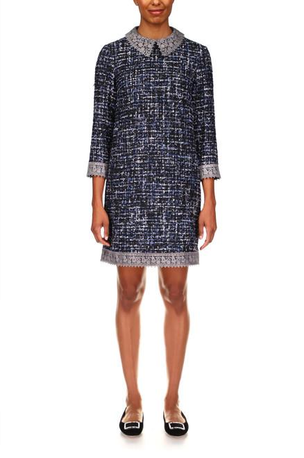Blue Multi Tweed Chemise Professional Dress Front