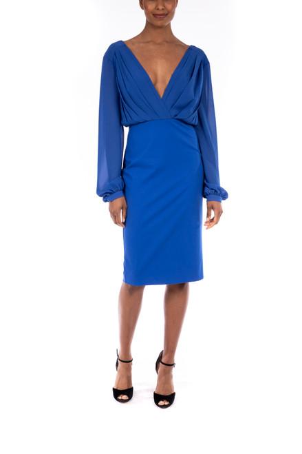 Mediterranean Blue Versatile Deep V-Neck Dress Front