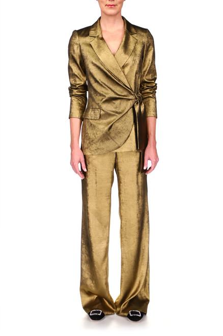 Gold Foil Lame' Blazer Jacket Front