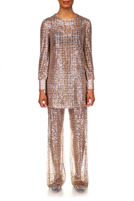 Charcoal Multi Plaid Sequin Pants Front
