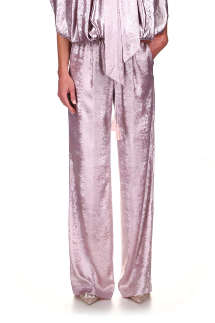 Silver Foil Lame' Drawstring Pants Front