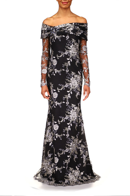Navy Lace Off-The-Shoulder Beaded Gown Front
