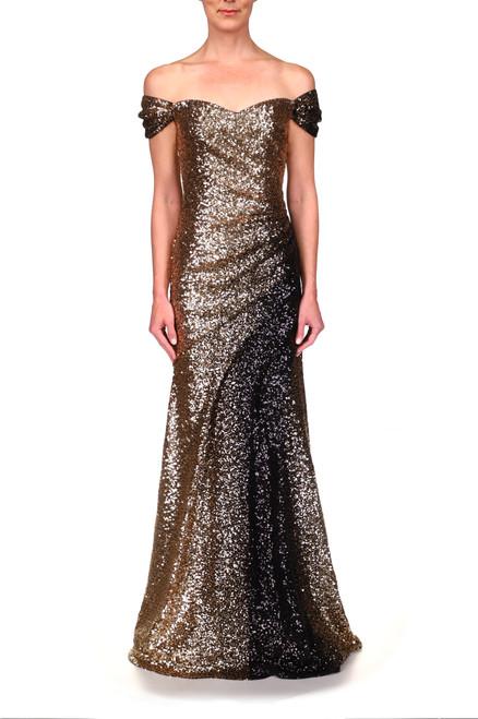 Black Gold to Black Ombré Sequin Gown Front
