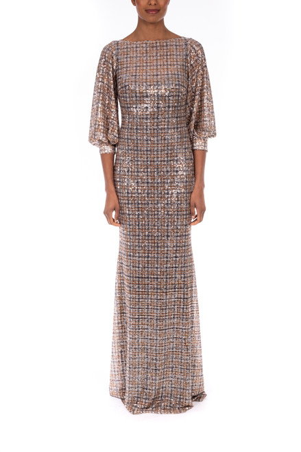 Charcoal Multi Plaid Sequin Gown Front