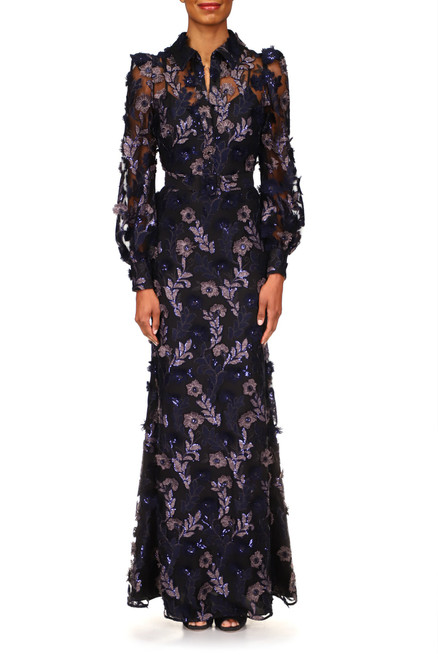 Navy Multi Floral Lace Shirtdress Tulle Gown Front