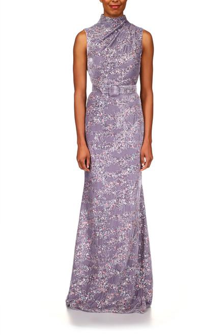 Dove Velvet Floral Print Gown Front