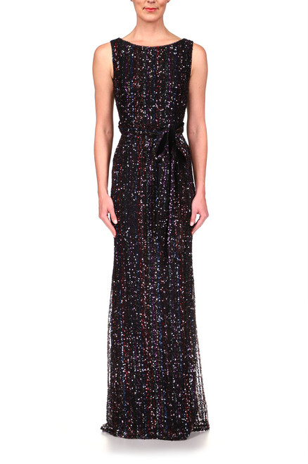 Black Multi Shimmering Stripe Sequin Gown Front