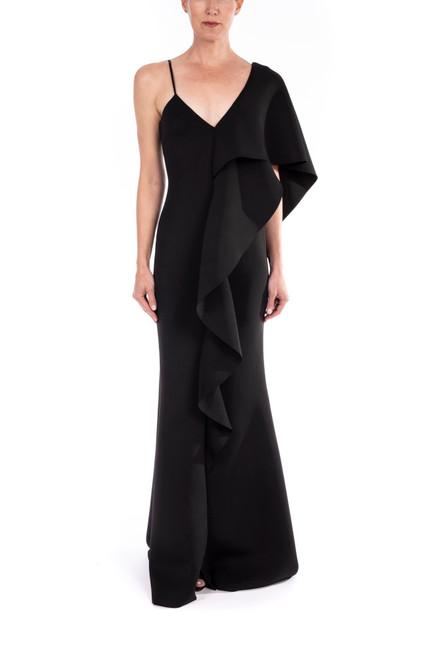 Black Asymmetrical Ruffle Gown Front