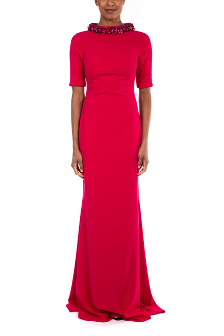Fuchsia Beaded Collar Formal Gown Front