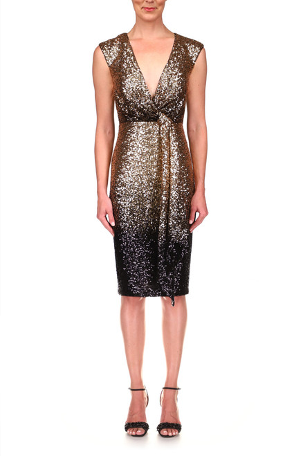 Gold Black Sequin Cocktail Dress Front