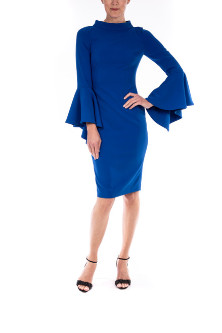 Mediterranean Blue High Neck Dress With Drama Sleeves Front