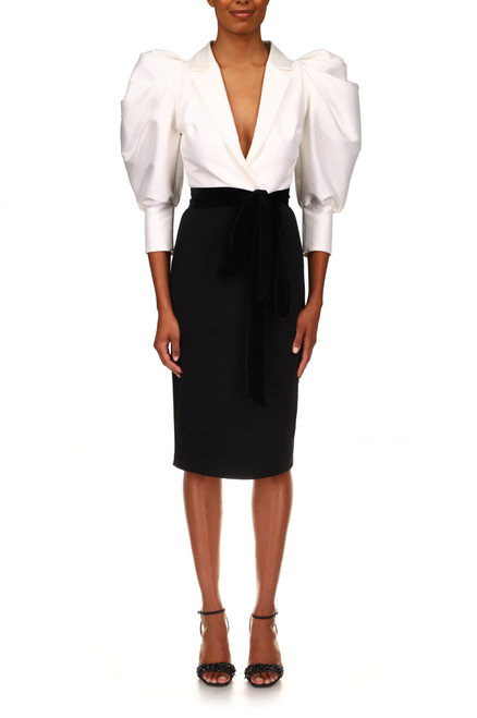 Ivory Black With White Puffed Sleeve Cocktail Dress Front