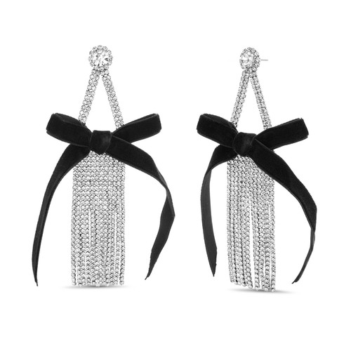 Glass Waterfall Fringe Earrings with Bow