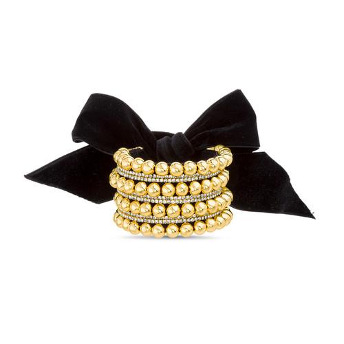 Shot Bead Cuff Bracelet with Black Velvet Bow