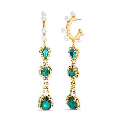 Emerald Green Deco Drop Linear Earrings