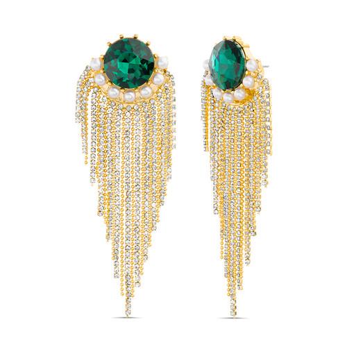 Emerald Green Waterfall Fringe Statement Earrings