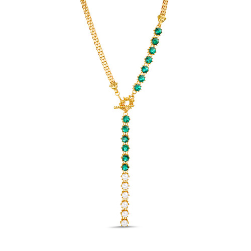 Emerald Green and Pearl Toggle Y Necklace