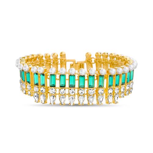 Art Deco Emerald Green Baguette Stone and Pearl Bracelet