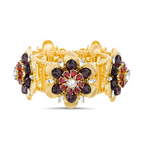 Berry Embellished Floral Stretch Statement Bracelet