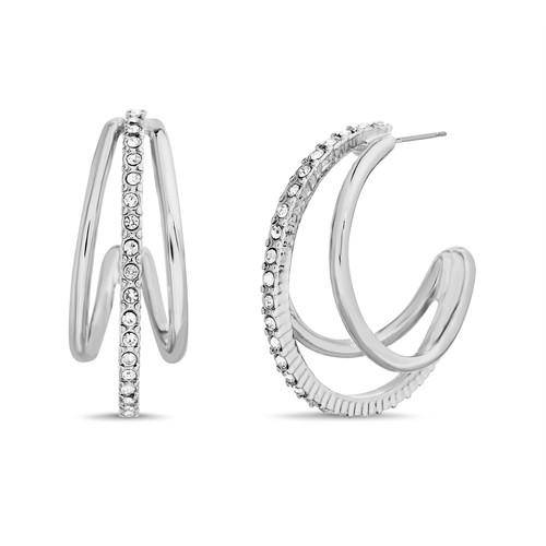Stone Center Open Loop Earrings