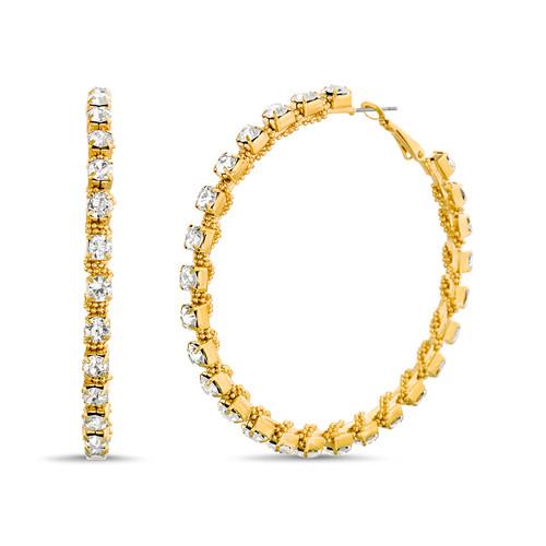 Gold Shot Bead Wrapped Rhinestone Hoop Earrings